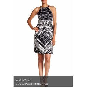 Diamond Shield Halter Dress:  black & white